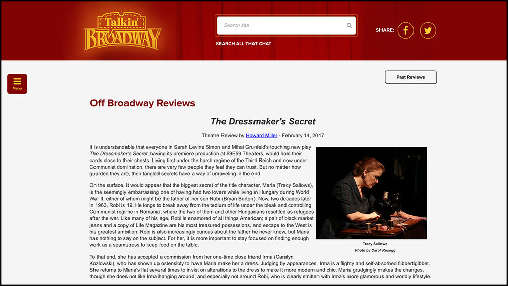 The Dressmaker's Secret  Talkin' BROADWAY