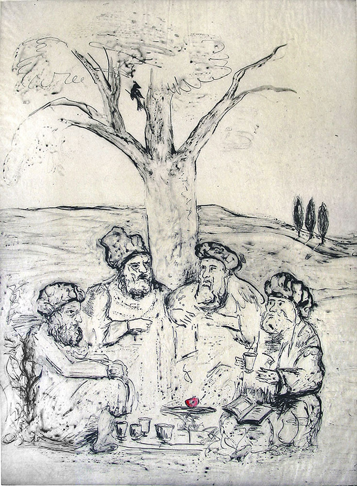 Knowledge - or Men of the Book (after Rembrandt) ; intaglio; 23 x 16""