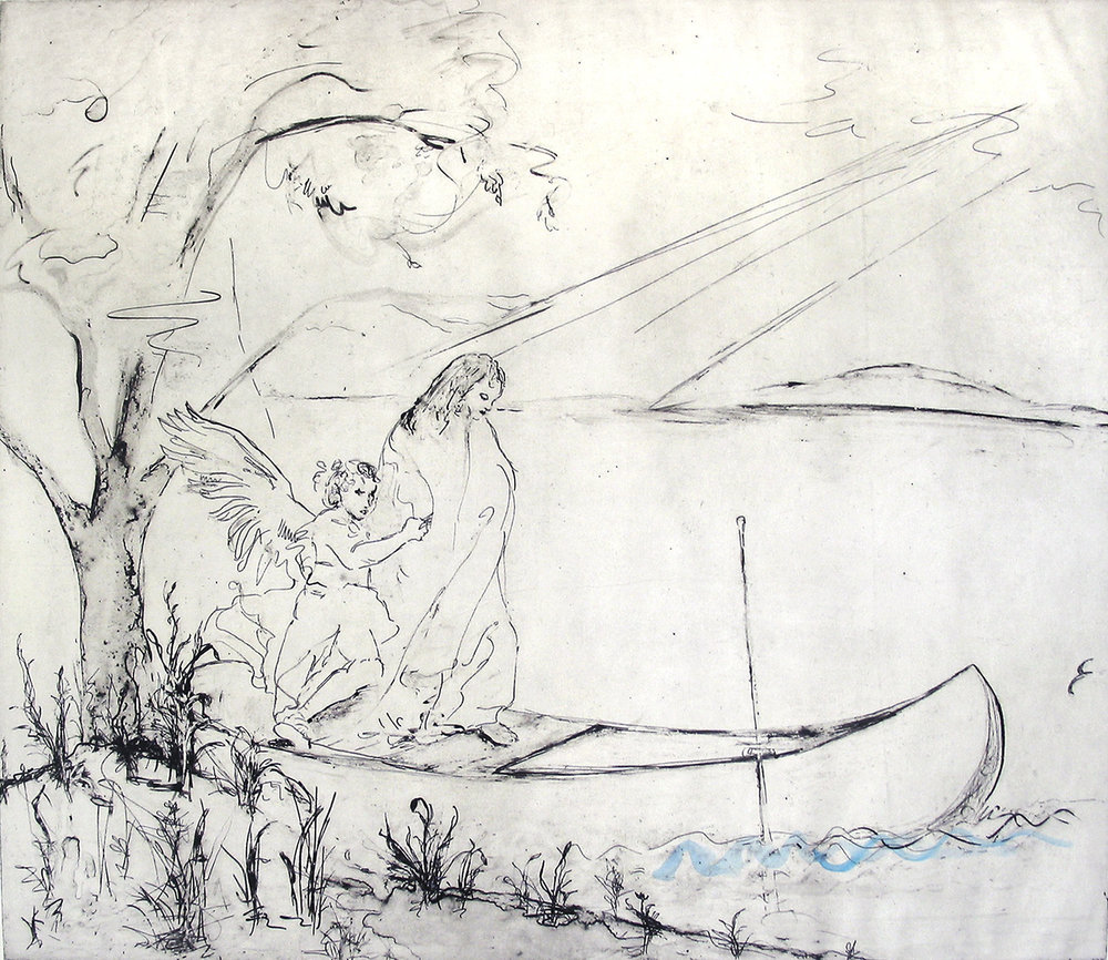 "The Flight of Truth (after Tiepolo) ; intaglio with gouache; 14 x 20""; e.v. 17; 2009-17"