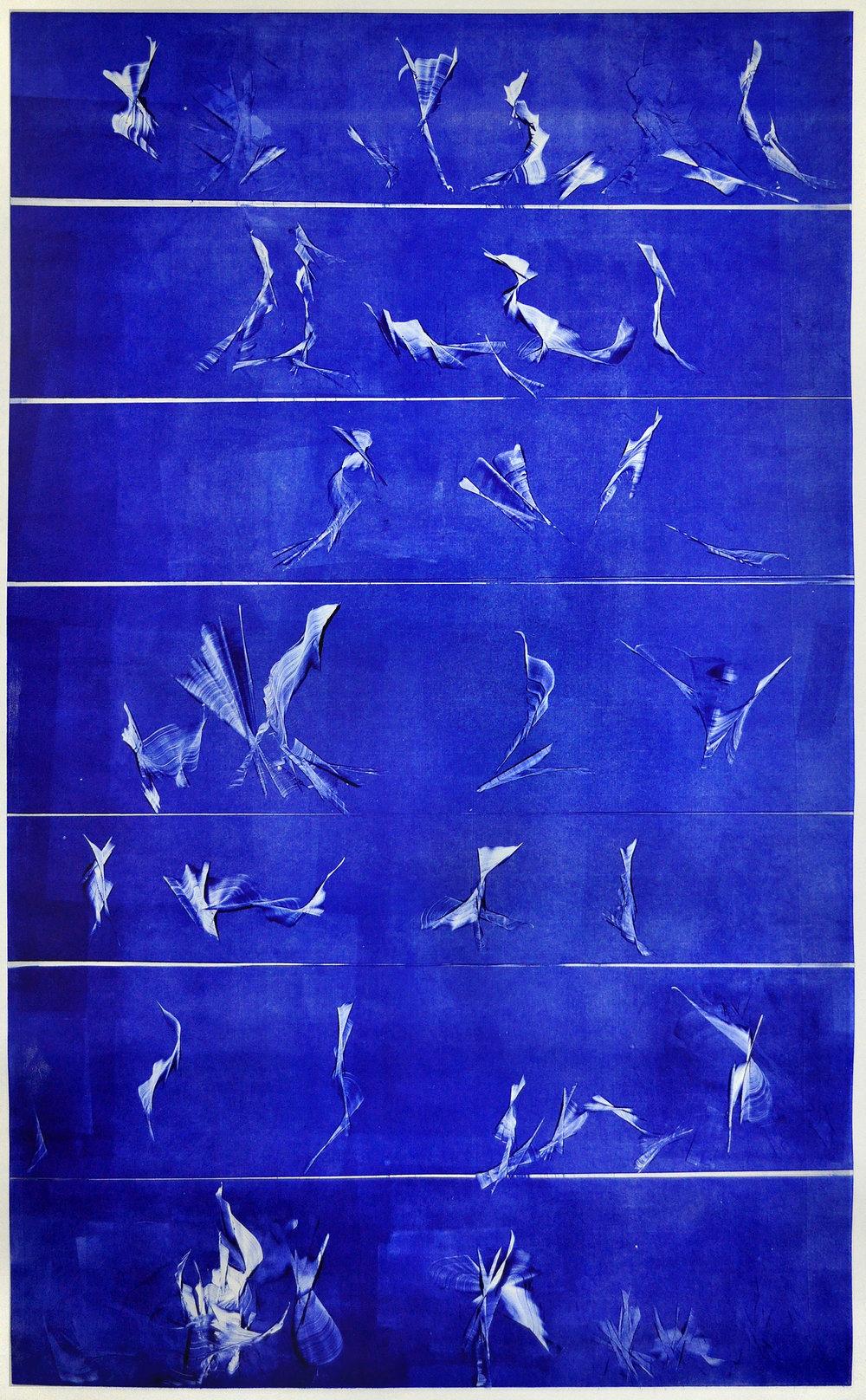 """Impromptu in Blue (Stairway 1) ; 40 x 24""""; 2018"""