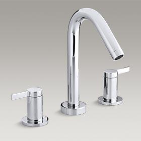 STILLNESS® Deck-mount bath faucet trim for high-flow valve with lever handles K-T954-4-CP