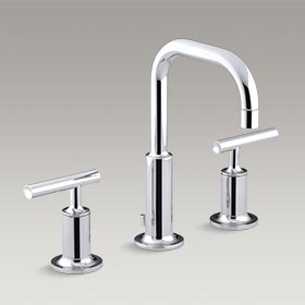 PURIST  Widespread bathroom sink faucet with low lever handles and low gooseneck spout  K-14406-4-CP