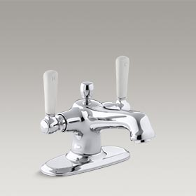 BANCROFT® Monoblock sink faucet with escutcheon and White ceramic lever handles K-10579-4P-CP