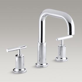 PURIST® Deck-mount bath faucet trim for high-flow valve with lever handles, valve not included K-T14428-4-CP