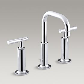 PURIST® Widespread bathroom sink faucet with high lever handles and low gooseneck spout K-14407-4-CP