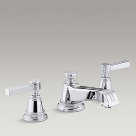 PINSTRIPE® Widespread bathroom sink faucet with lever handles K-13132-4B-CP