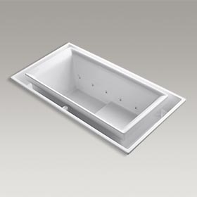 "SOK® 75"" x 41"" drop-in whirlpool with Effervescence and left-hand drain K-1189-RE-0"