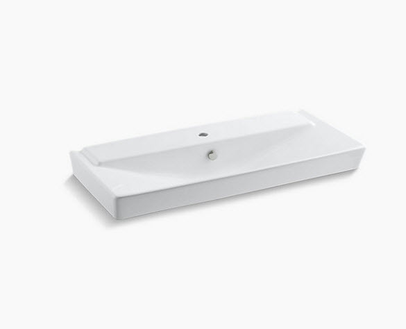 "Rêve® 39"" pedistal bathroom sink basin with single faucet hole K-5026-1-0"
