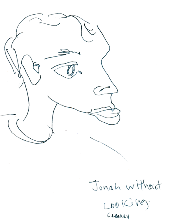 Jonah Without Looking   Blind contour of an audience member at one of my live musical performances in 1996.