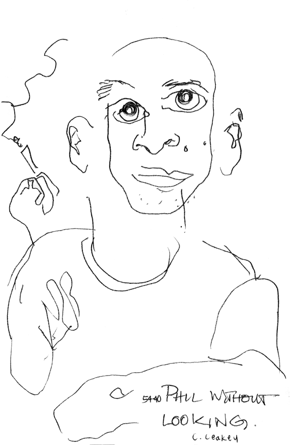 Phil Without Looking   Blind contour of Phil from the Canadian rock band, 5440 in 1996 when he came out to see one of my live musical performances.