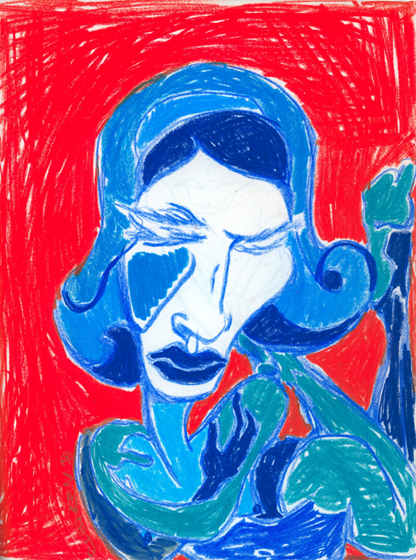 Red and Blue   1998 coloured pencils on paper