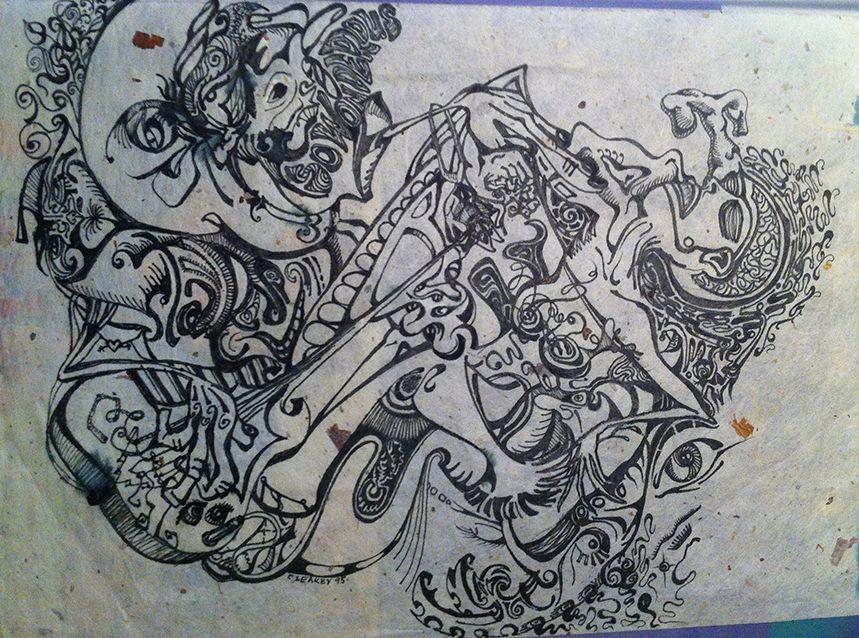 Moon Man Beat   1995 ink on handmade paper
