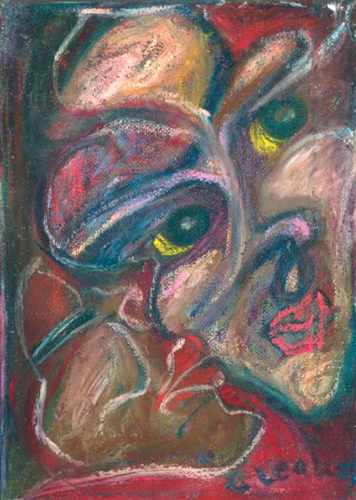 Kiss  1998 oil pastel on canvas