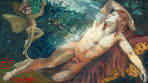 Cupid and Man Sleeping   2001 oil paint on cardboard shoe box lid. Inspired by a painting I saw at the Louvre.