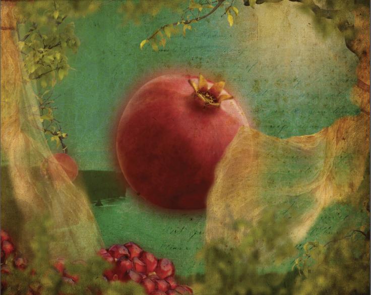 Pomegranate Love Heart   2013 digital art and encaustic on wood