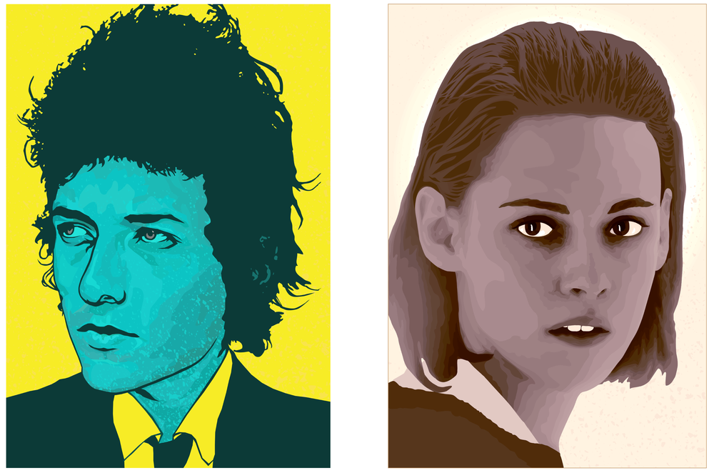 Left : Personal portrait project of Bob Dylan   Right : Commissioned work of Kristen Stewart for  Face Factory