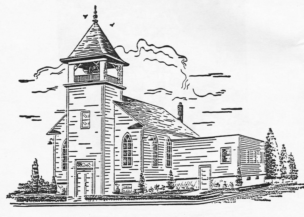 A beautiful sketch of the building in 1951 showing the new addition