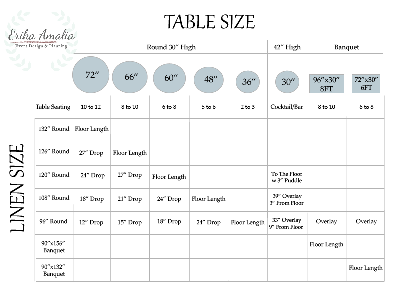 Table Amp Linen Size Chart Erika Amalia Events