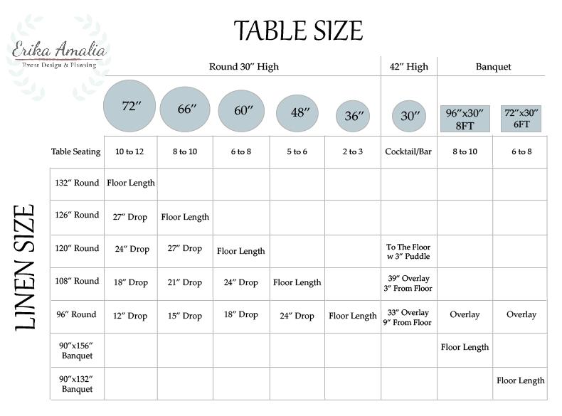 Table Amp Linen Size Chart Erika Amalia Events