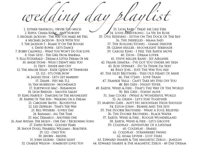 Wedding day playlist erika amalia events one of our favorite wedding to dos is to create playlists for every part of the day checkout our swoon worthy playlist below of our favorite melodies junglespirit Gallery