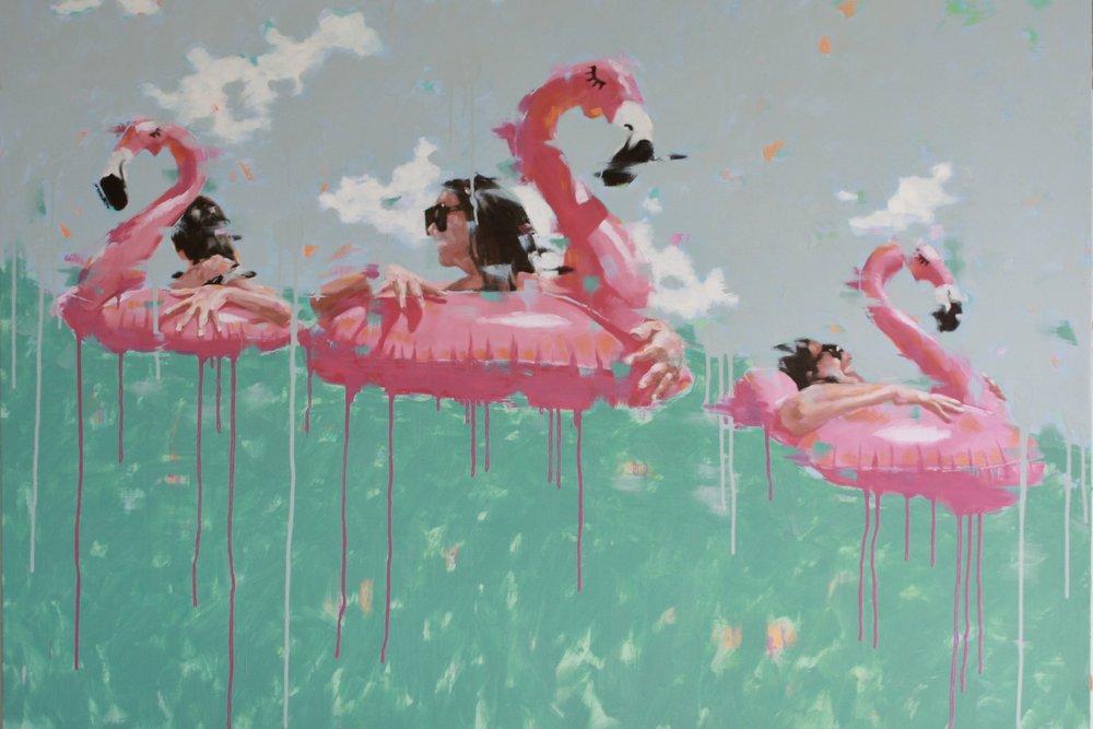flamingo fun 40x54 oil on panel