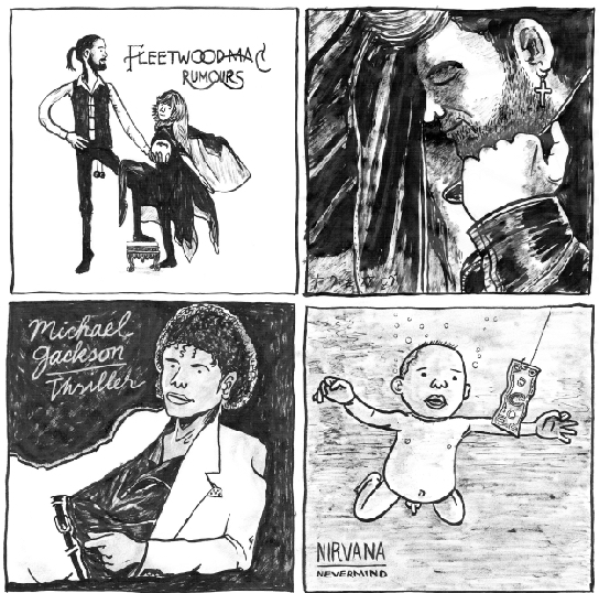 (From top to bottom, left to right)  Rumours , Fleetwood Mac (1977) /  Faith , George Michael (1987) /  Thriller , Michael Jackson (1982) /  Nevermind , Nirvana (1991)