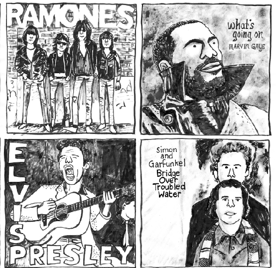 (From top to bottom, left to right)  Ramones , Ramones (1976) /  What's Going On , Marvin Gaye (1971) /  Elvis Presley , Elvis Presley (1956) /  Bridge Over Troubled Water , Simon & Garfunkel (1970)