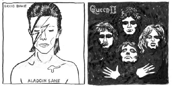 Aladdin Sane , David Bowie (1973) / Queen II , Queen (1974)