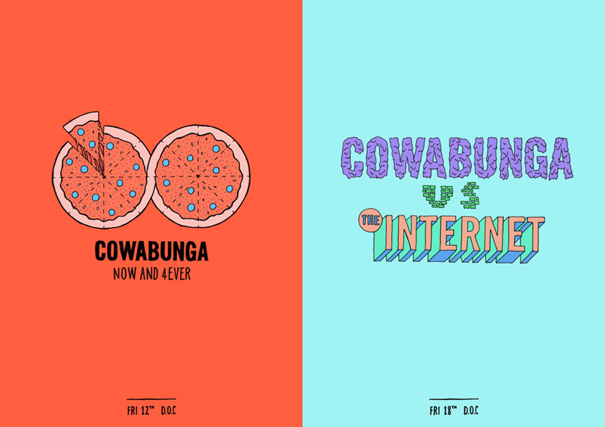 Gig posters for DJ duo Cowabunga