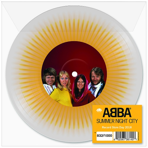 """Summer Night City , ABBA / Limited Edition reissue on 7"""" 'Clear/Yellow Splatter'vinyl / 2000 copies"""