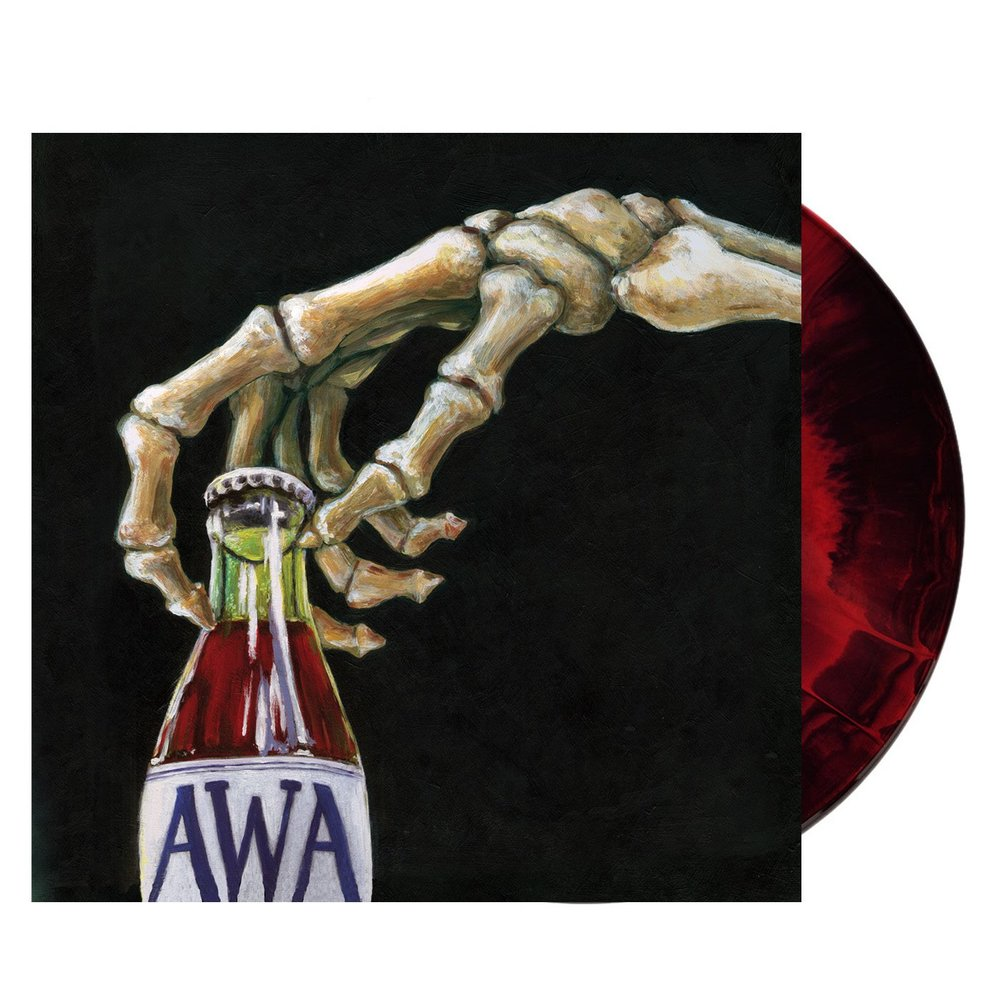 """Dead Without Dying & Gleefully Detached , American Werewolf Academy / 12"""" repress on 'Solid Red & Black Mixed Colour' vinyl"""