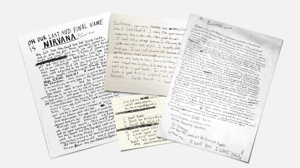 Kurt Cobain notes /songwritersfonts.com