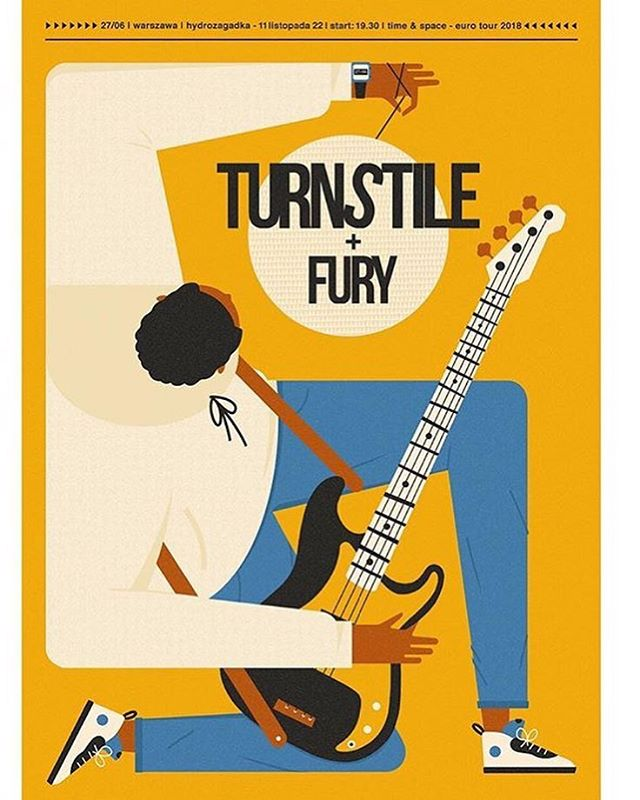 @talkseek flyer for @turnstiletribe and Fury at Hydrozagadka, Warszawa, 27/06/18 👏🏻