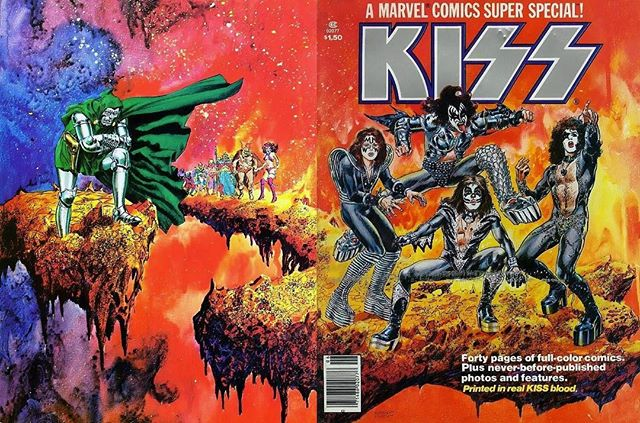 """#OnThisDay : In 1977, @marvel released the first edition of their """"Super Special"""" Kiss comic 📙 — Various sources have claimed that blood from the band members was mixed with red ink and used to print the book 💉"""
