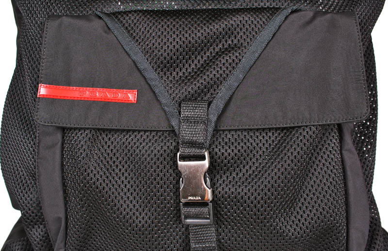 9985f56d505064 Prada Large Black Nylon Bag with Netting and Front Pocket — trunkshowSALE