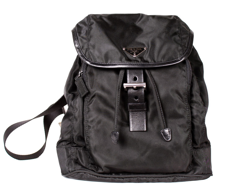 52b81664f6a6 Prada Small Black Nylon Backpack with Leather Trim — trunkshowSALE