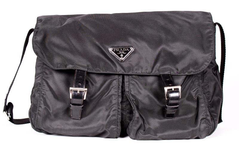 cadfa8243a8d Prada Large Black Nylon Messenger Bag — trunkshowSALE