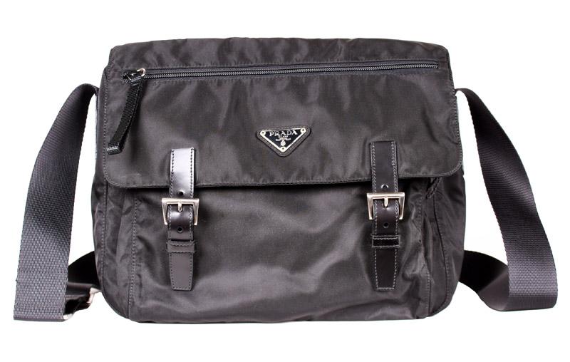 420fb344a4f3 Prada Small Black Messenger Bag with Zipper Pocket — trunkshowSALE