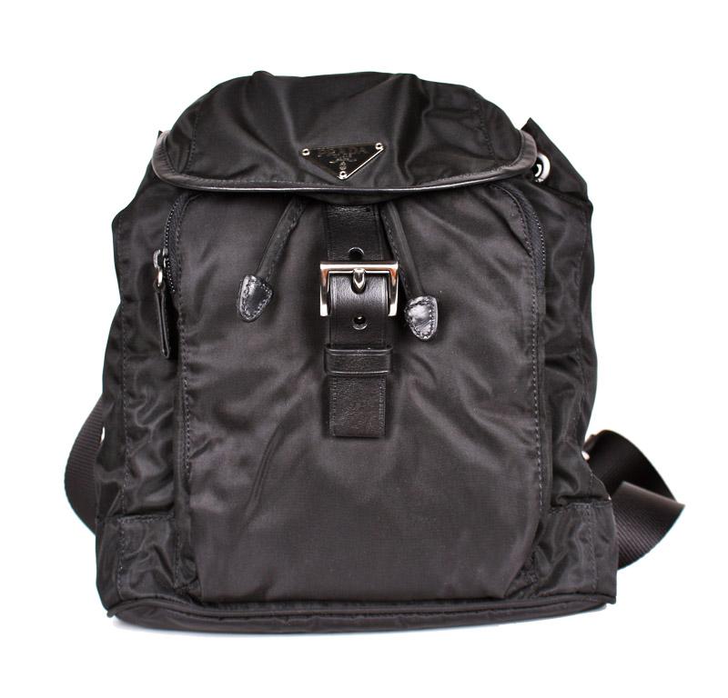 df62c5e55c78 Prada Small Black Nylon 2-Pocket Backpack — trunkshowSALE