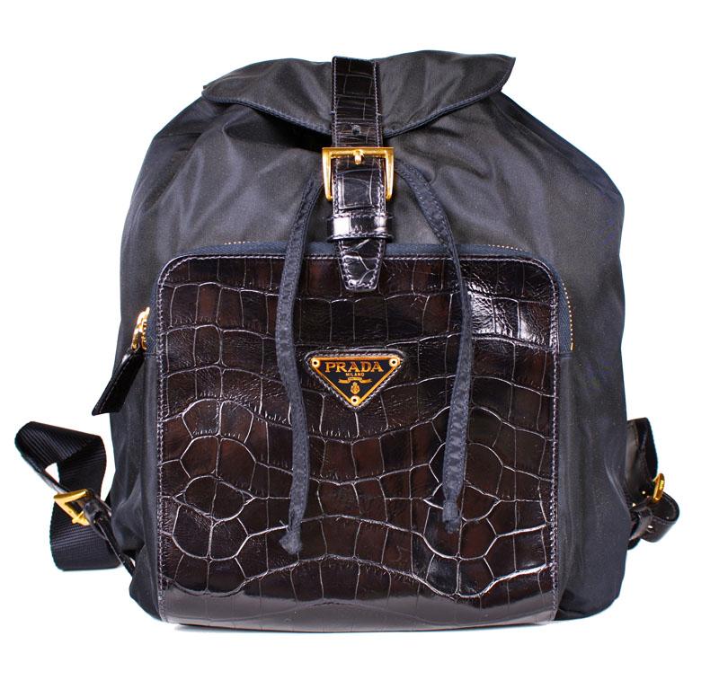 261db00dca5b Prada Small Navy Nylon Backpack with Crocodile Pocket — trunkshowSALE