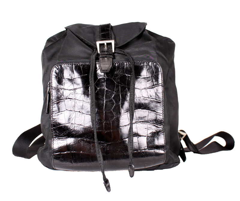 8e16dac4e6f9 prada-2029 (1).jpg. Prada Small Black Nylon Backpack with Crocodile Pocket.  229.00 695.00. sale