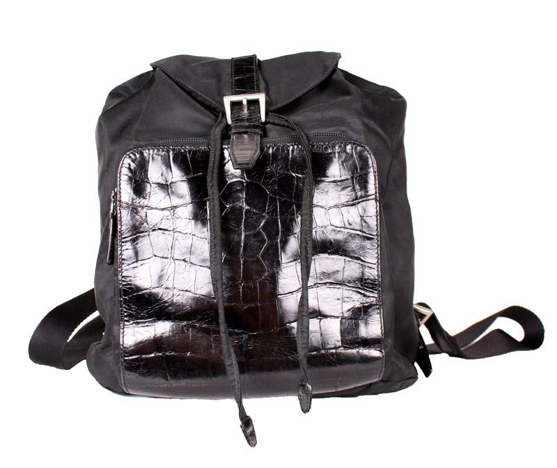 53bb1da0ba82 Prada Small Black Nylon Backpack with Crocodile Pocket — trunkshowSALE