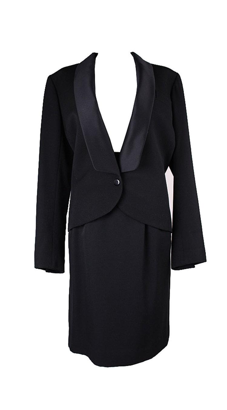 b6466c8bb6a Yves Saint Laurent Vintage Black Tuxedo Jacket and Skirt with Satin ...