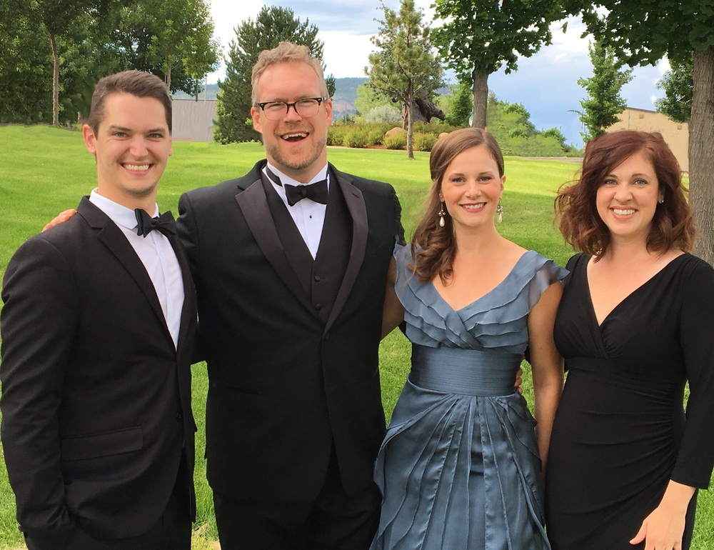 Quadrivium singers Cory Klose, Michael Hix, Kerry Ginger, and Charissa Chiaravalotti perform at the 2016 Music in the Mountains festival. They came together in February 2017 for Quadrivium's concert,  A Madrigal Comedy.