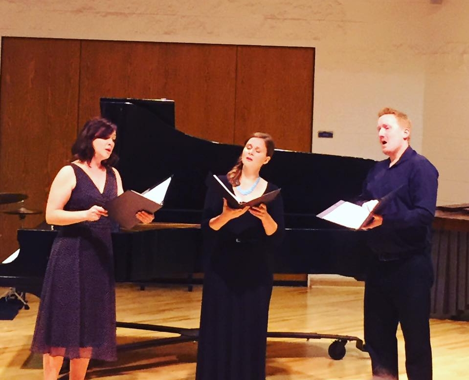 Quadrivium founding members Charissa Chiaravalloti, Kerry Ginger, and Erik Gustafson perform at Fort Lewis College's Alexander Murray Faculty Collage Recital in 2016.