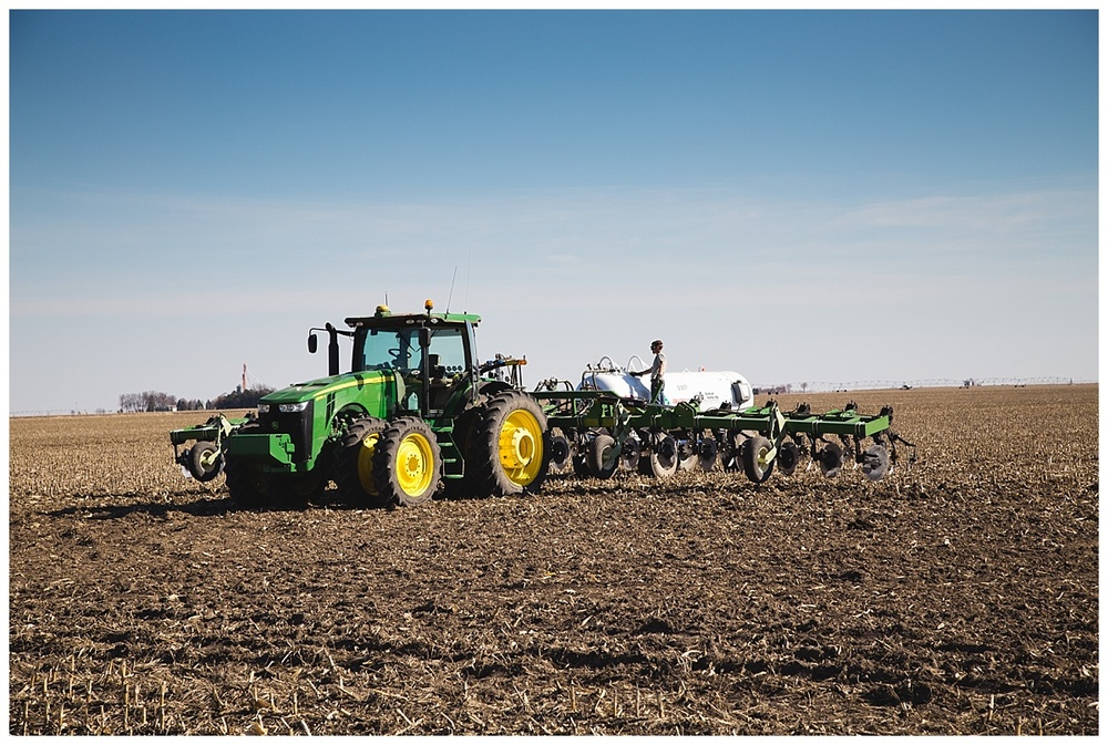 John Deere tractor fertilizing Nebraska field