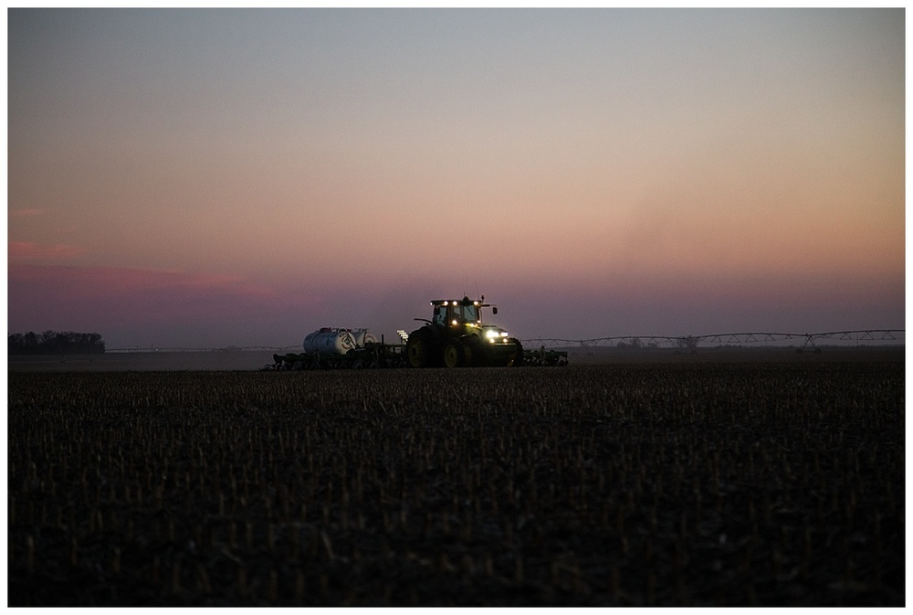 farmer working at night