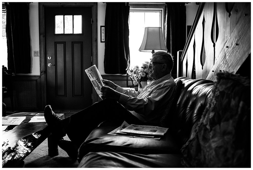 documentary//grandpa reading the newspaper