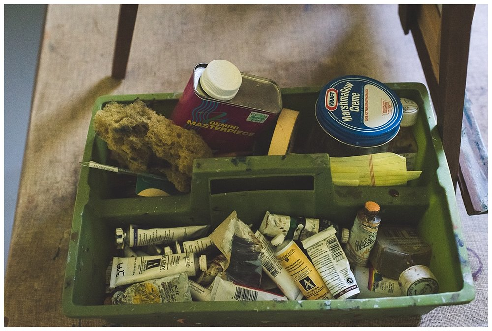 documentary photography//grandmas paint tools