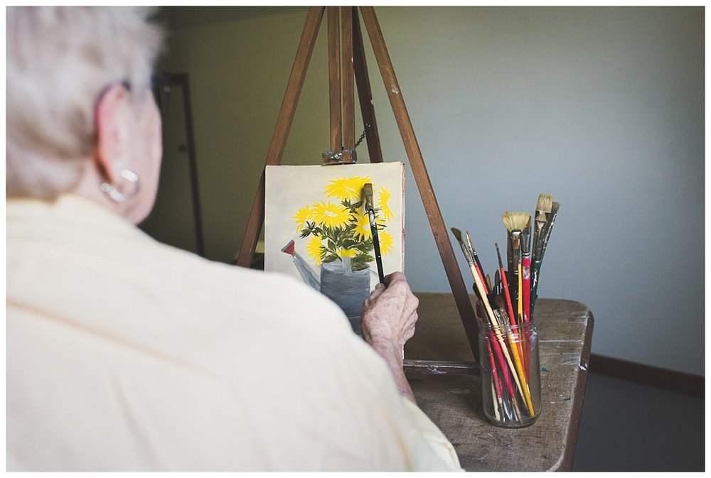 documentary photography//grandma painting in attic